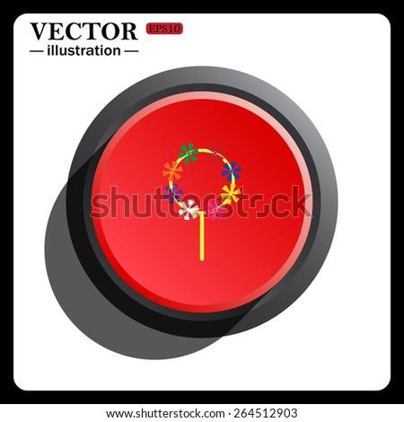 Red button start, stop. Children's toy wind mill, turntables, pinwheel wind vane, vector illustration, EPS 10 - stock vector