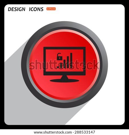 Red button start, stop. signal strength indicator, open access. icon. vector design - stock vector