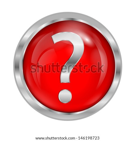 red button with a question mark - stock vector
