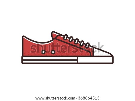 Red canvas sneaker line icon. Isolated vector illustration. - stock vector
