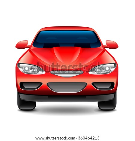 Red car front view isolated on white photo-realistic vector illustration - stock vector