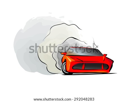 Red car icon. fast red drift racing automobile vector illustration - stock vector