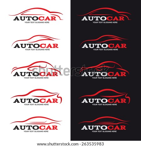 red car line logo is 5 style in black and white background - stock vector