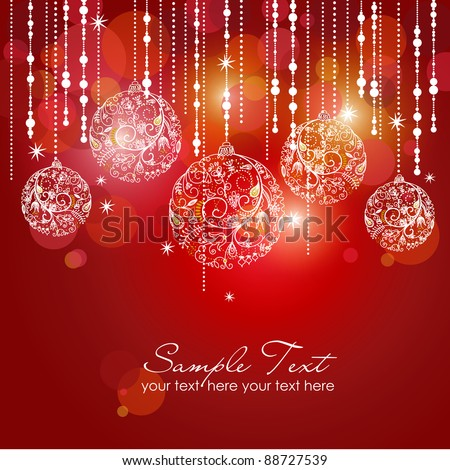 Red card with christmas balls, vector illustration - stock vector