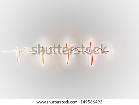 red cardiogram wave on the grey background - stock vector