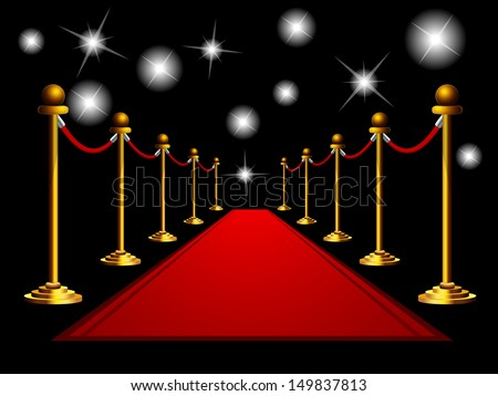 Red carpet at night.  - stock vector