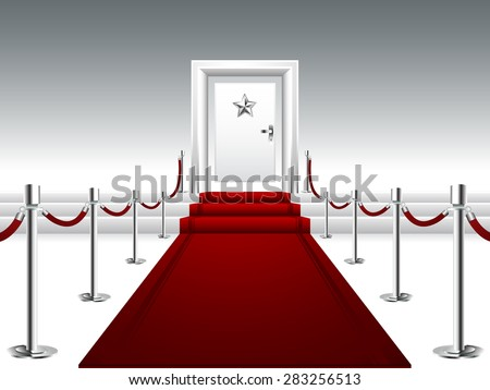 Red Carpet Leading to the Stairs and Door with Silver Star - stock vector