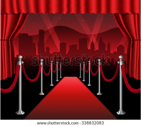 Red carpet movie premiere elegant event hollywood background - stock vector