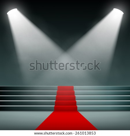 Red carpet on the stairs. Vector image. - stock vector