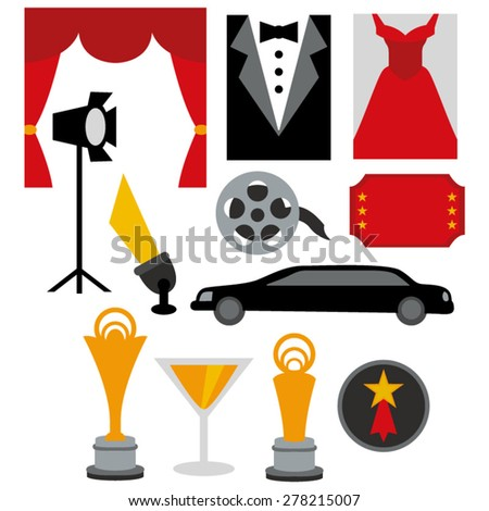 Red carpet party vector. - stock vector