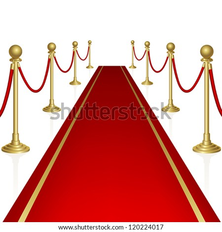 Red carpet with guard. Clipping Mask. Mesh. - stock vector