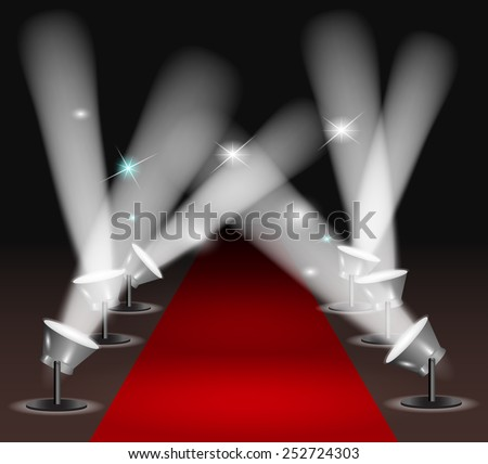 Red carpet with spotlights - stock vector