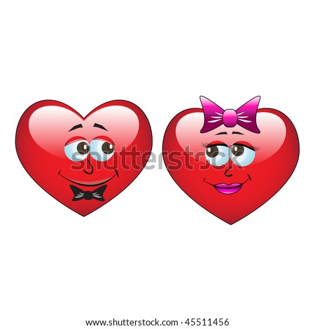 Red cartoon heart on white background - stock vector