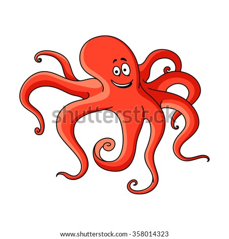 Red cartoon octopus with long tentacles hunting on the bottom of the ocean. Childish book, underwater wildlife mascot design - stock vector