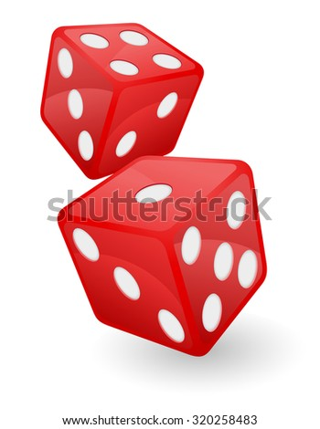 red casino dice vector illustration isolated on white background - stock vector