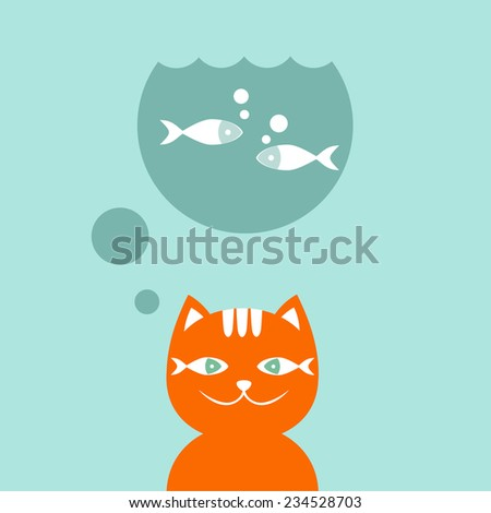 Red cat dreams about fish. Vector illustration. - stock vector
