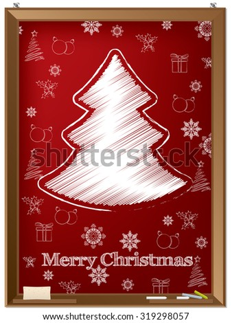 Red chalckboard theme greeting card design with scribbled tree and other christmas elements - stock vector