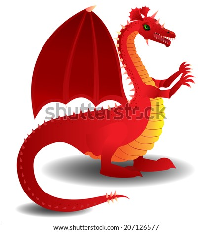 Red charging dragon - stock vector