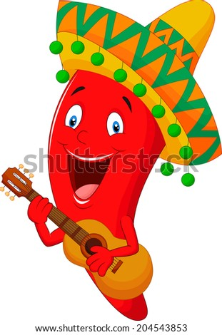 Red Chili Pepper Cartoon Character With Mexican Hat Playing A Guitar - stock vector