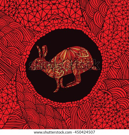 Red Chinese zodiac sign - Rabbit - stock vector