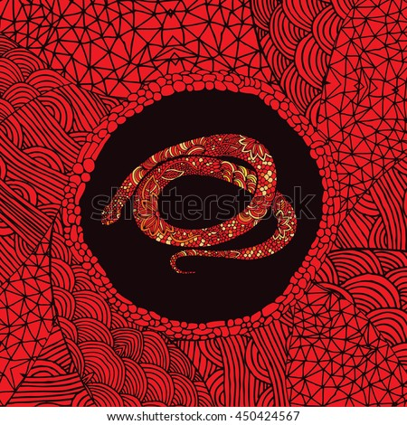 Red Chinese zodiac sign - Snake - stock vector