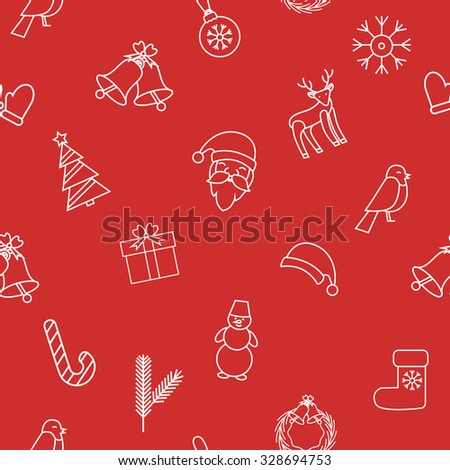 Red christmas and new year background. Santa Claus, bell, Christmas decorations, reindeer, snowflake, Christmas tree, gift, Bullfinch, Christmas hat, snowman. Vector Christmas seamless pattern. - stock vector