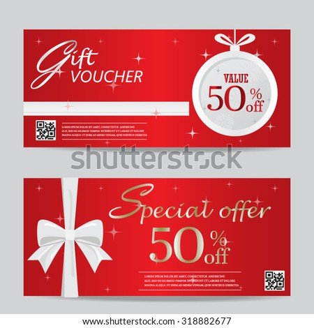 red christmas and new year gift voucher certificate coupon template. can be use for business shopping card, customer sale and promotion, layout, banner, web design. vector  illustration - stock vector