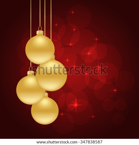 red Christmas background with Christmas balls. vector illustration - stock vector