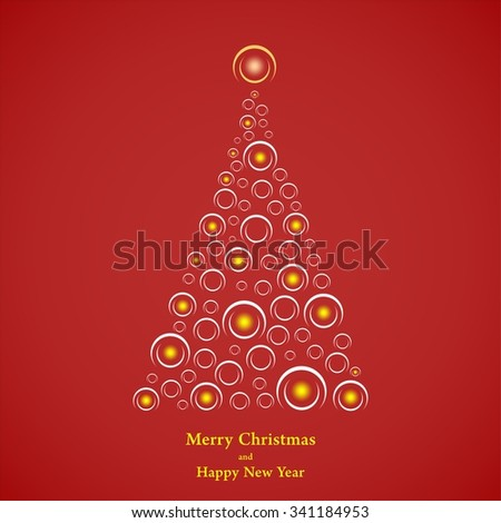 Red Christmas background with Christmas tree with white semicircle of yellow flashing lights inside the little light shining on top and yellow lettering Merry Christmas and Happy New Year - stock vector