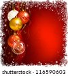 red Christmas background with evening balls - stock vector