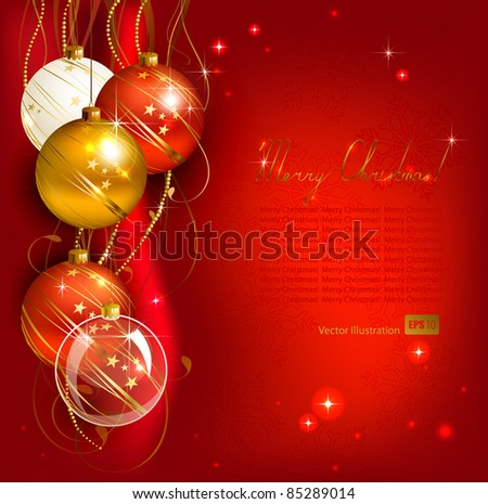 red  Christmas background with gold and red evening balls - stock vector