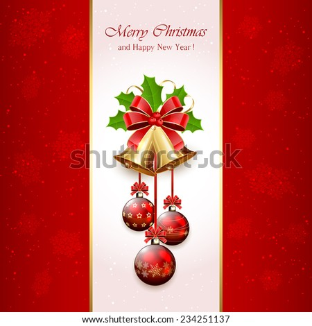 Red Christmas background with golden bells, red bow, balls, tinsel and Holly berries, illustration. - stock vector