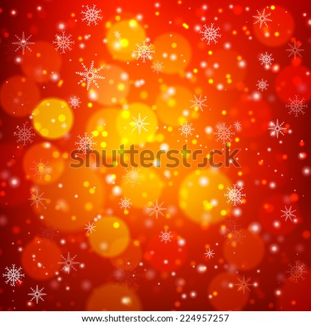 Red Christmas background with light, bokeh and snowflakes. Vector illustration - stock vector