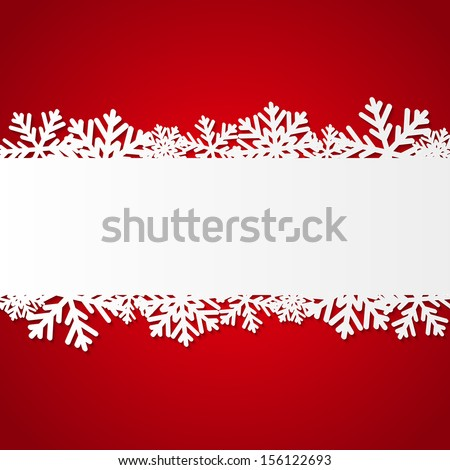 Red Christmas background with paper snowflakes - stock vector