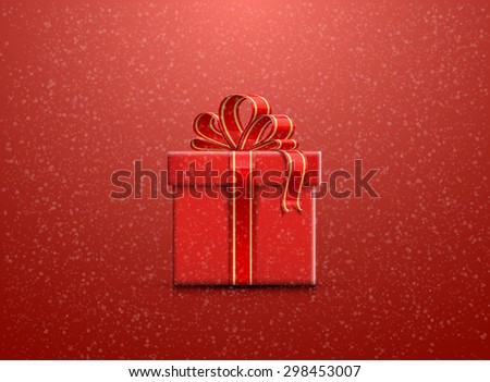Red Christmas background with snowflakes and a gift box - stock vector