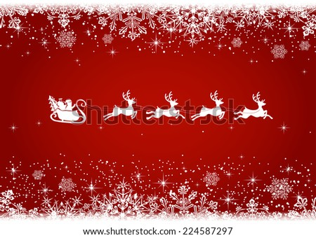 Red Christmas background with snowflakes and silhouette of Santa and deer, illustration. - stock vector