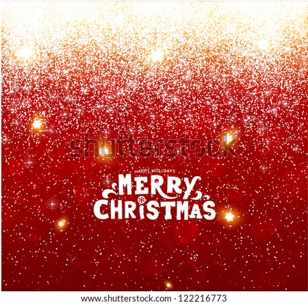 Red Christmas background with snowflakes for Xmas design. Vector eps 10. - stock vector