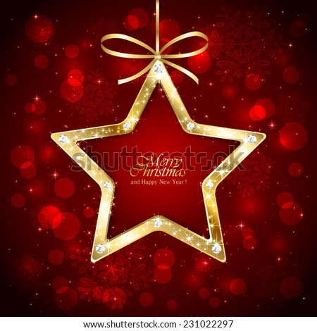 Red Christmas background with sparkling diamond star, snowflakes and blurry lights , illustration. - stock vector