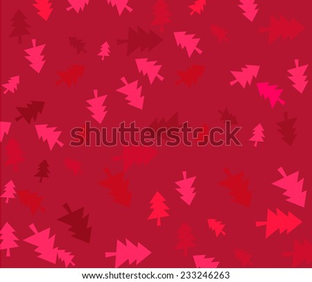 Red Christmas background with trees - stock vector