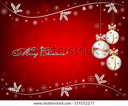Red Christmas background with white snowflakes, holly and Christmas ornaments - stock vector