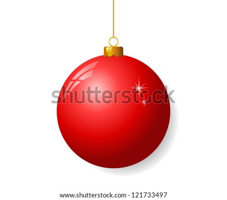 Red christmas ball - stock vector