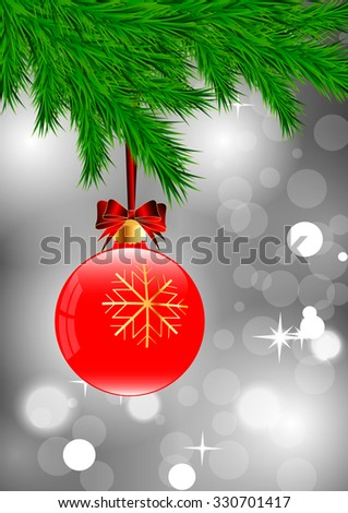 Red Christmas ball with golden snowflakes and bow hanging on a Christmas tree on a gray background of brilliant  - stock vector