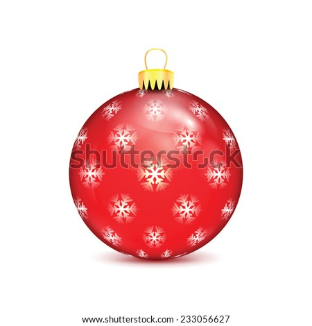 Red Christmas ball with snowflakes isolated on white background - stock vector