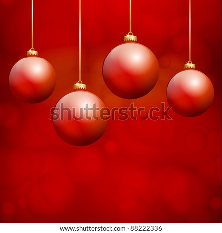 Red Christmas Balls hanging in front of red background - stock vector
