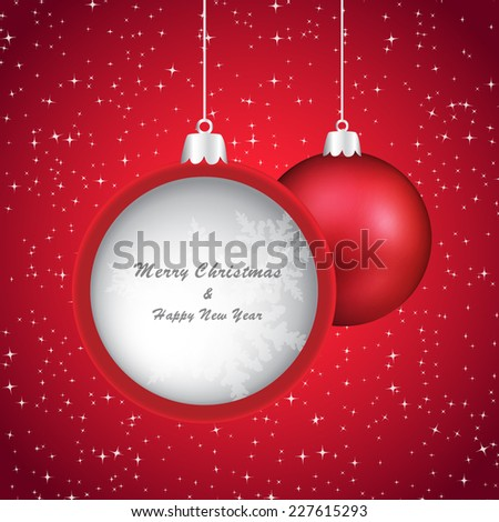 Red christmas bauble on sparkling background with place for your text inside. - stock vector