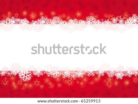 Red Christmas card with snowflakes and place for greetings, vector illustration - stock vector