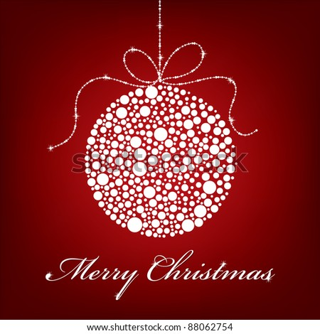 red christmas greeting card with bauble decoration and message - stock vector