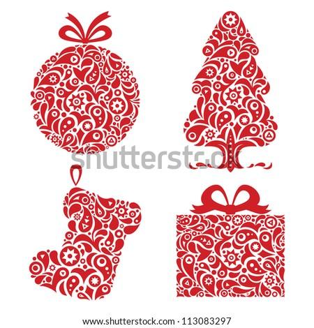 Red Christmas ornamental symbols - stock vector