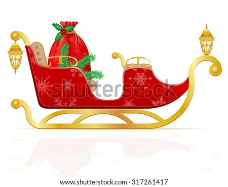 red christmas sleigh of santa claus with gifts vector illustration isolated on white background - stock vector