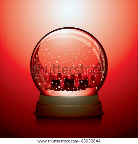 Red Christmas snow globe with a town within - stock vector